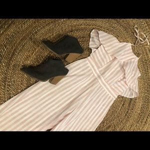 Pants - Pink and Whit Pinstriped Jumpsuit